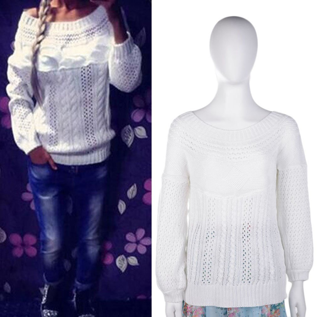 Women Ladies Solid Knitted Sweater Long Sleeve Holes Size Top Outwear Winter