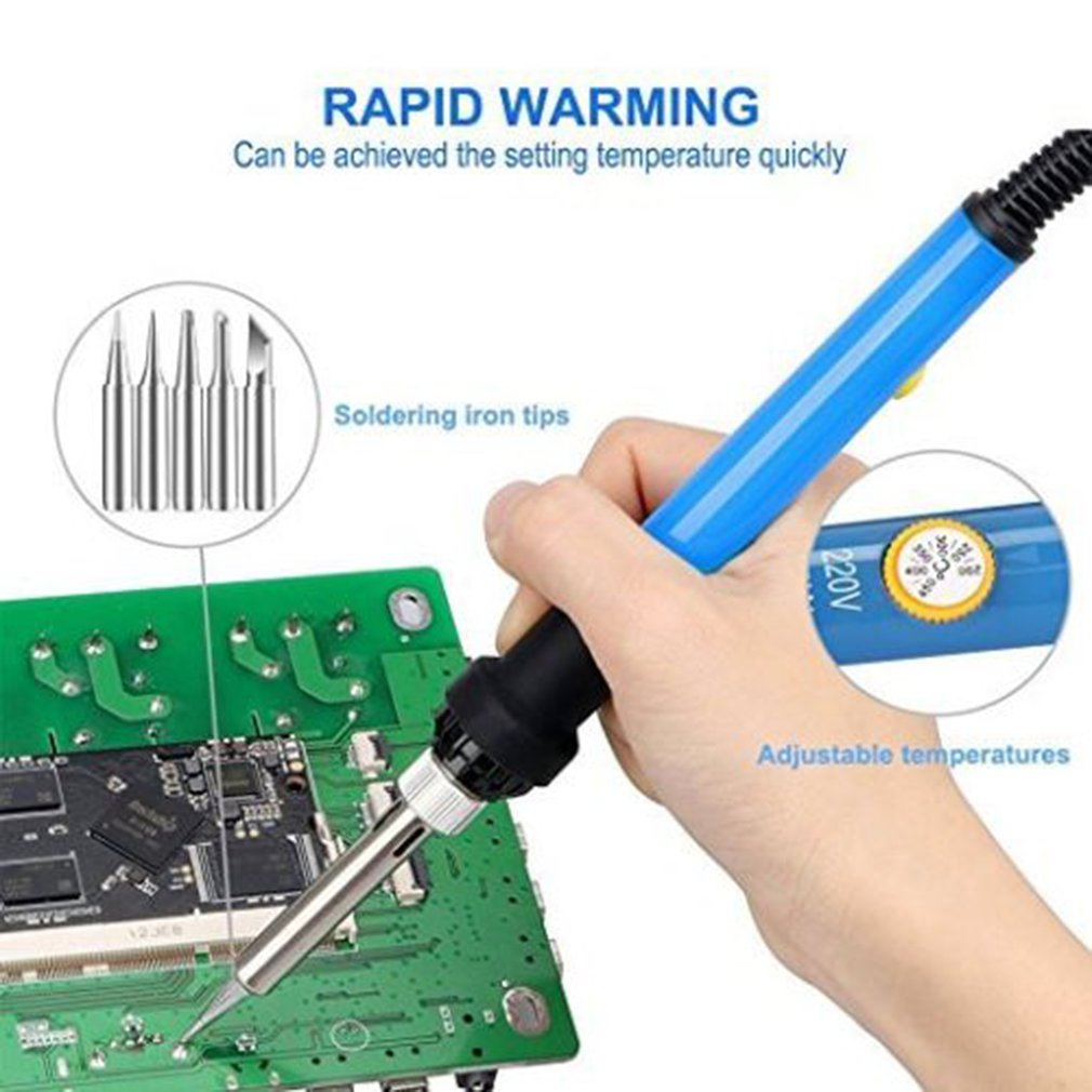 T-24 Temperature Adjustable Intelligent Electric Iron Soldering Substitute Soldering Station Iron With 6pcs Iron Tips