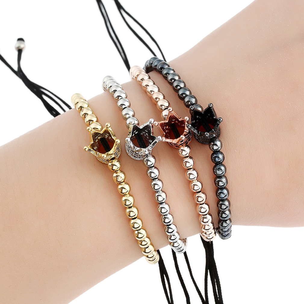 Fashion Electroplate Crown Bracelets Adjustable Rope String Beads Wristband