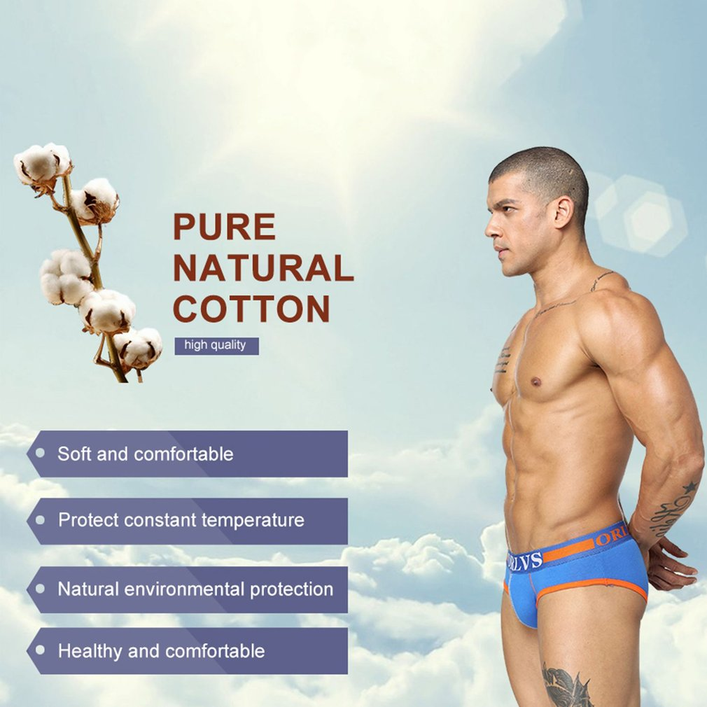 Breathable Men Underwear Pure Natural Cotton Underpants Low Waist Sexy Brief