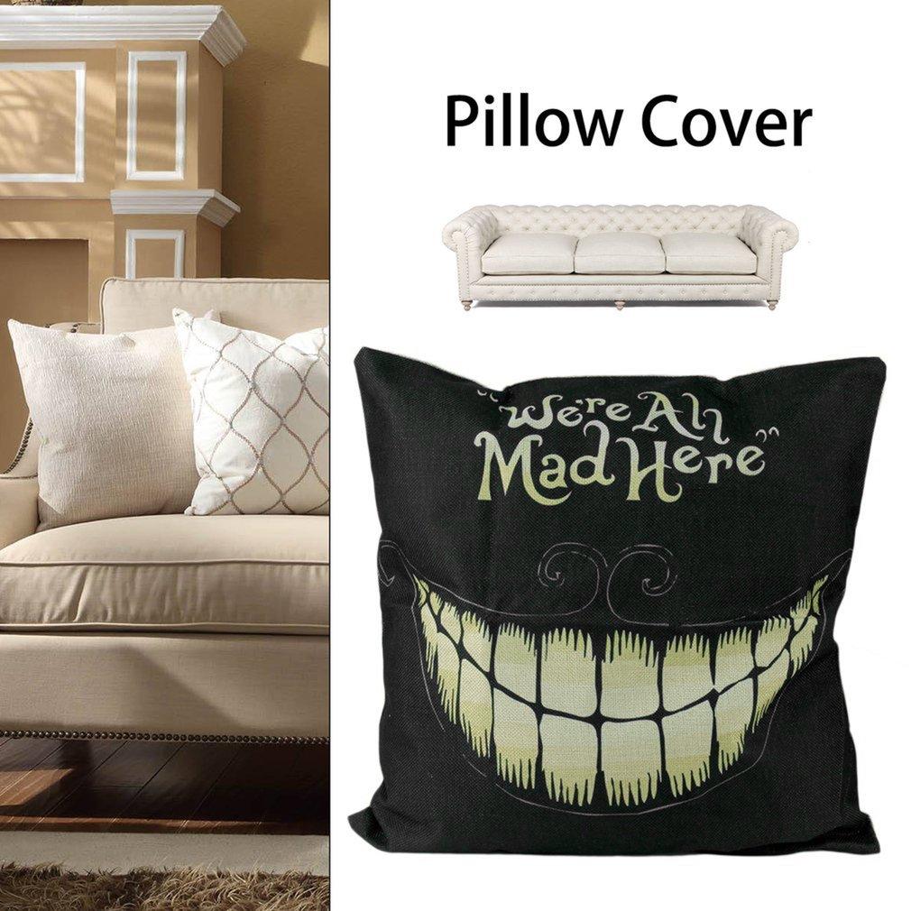 Creative Funny  Linen Pillow Cover Halloween Smile Face Pillow Cushion Cover