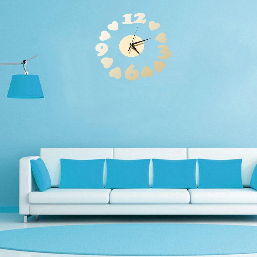 Modern DIY Wall Clock Heart Shape Sticker Home Office Decor Art Clock