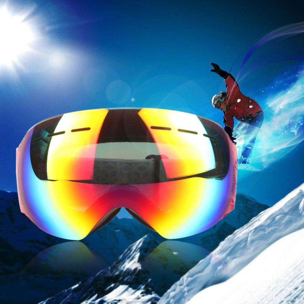 Unisex Frameless Ski Goggles Double-layered Fog-proof Windproof Eyewear HX002