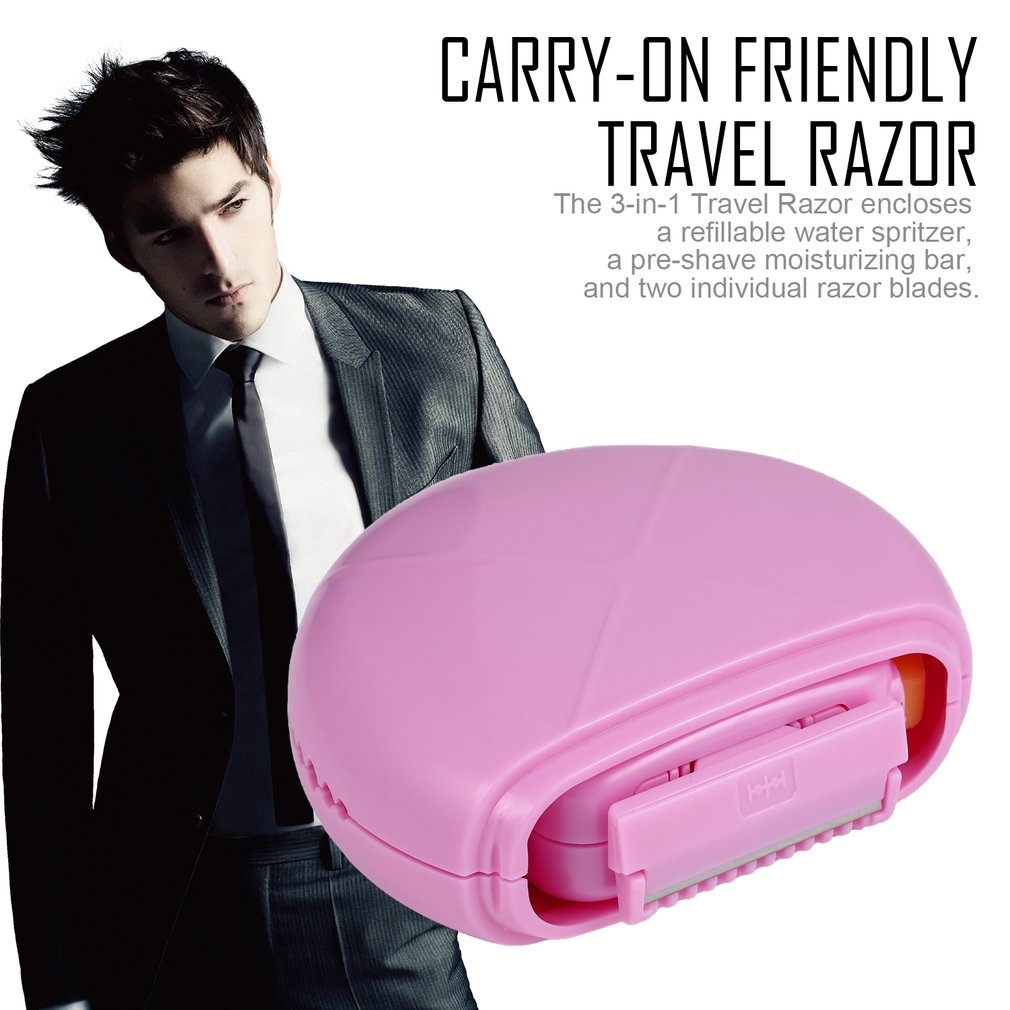 Carry-on Friendly Three-in-one Travel Razor with Razors+Shave Bar+Spray Bottle