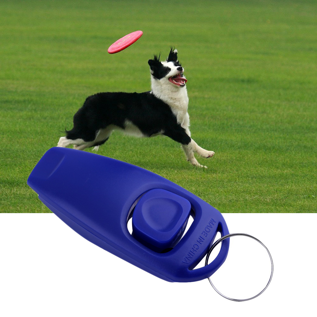 Dog Puppy Training Clicker Obedience Trainer Pet Click & Whistle Agility Keyring