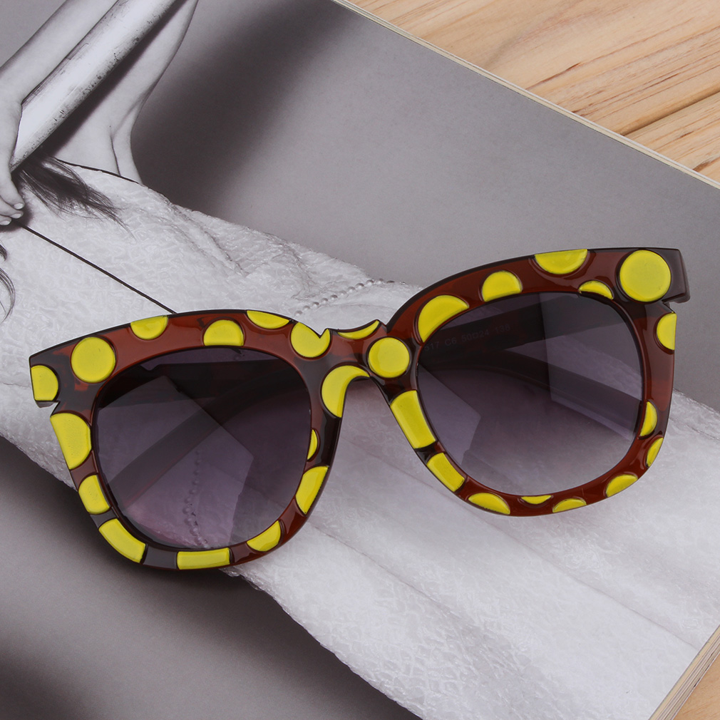 New Fashion Colorful Sunglasses Dots Thick Frame Colorful Film/Gray Lenses