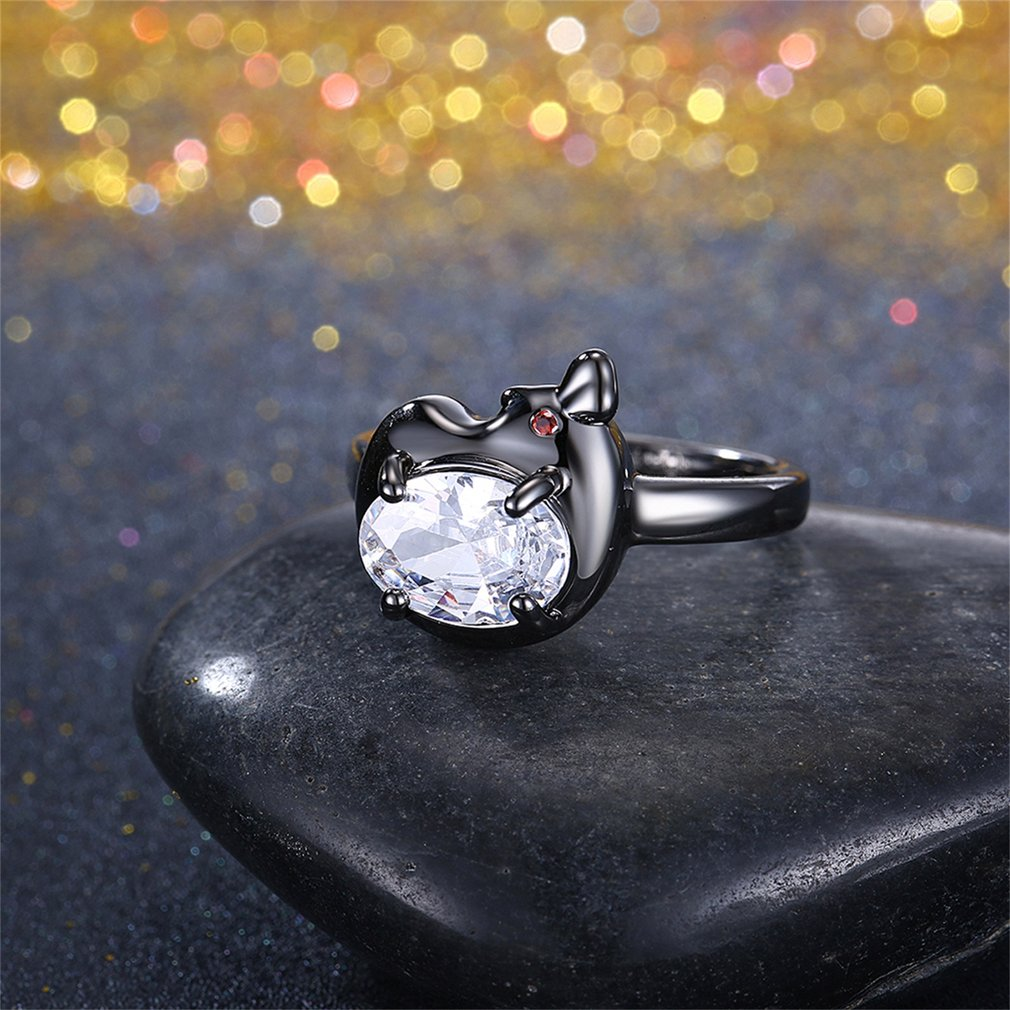 Fashionable Women White Zircon Wedding Engagement Finger Rings Jewelry Gift