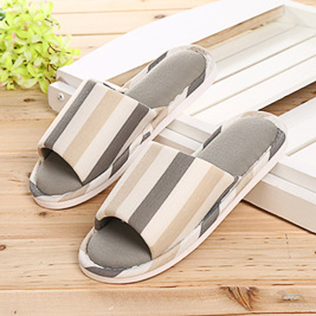 Fashion Warm Comfortable Anti-skid Slippers Soft Plush Couple Striped Shoes
