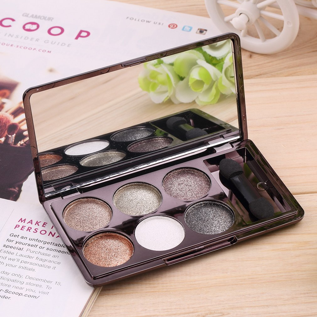 6 Colors Diamond Eye Shadow Palette Makeup Glitter Shimmer Neutral Nude