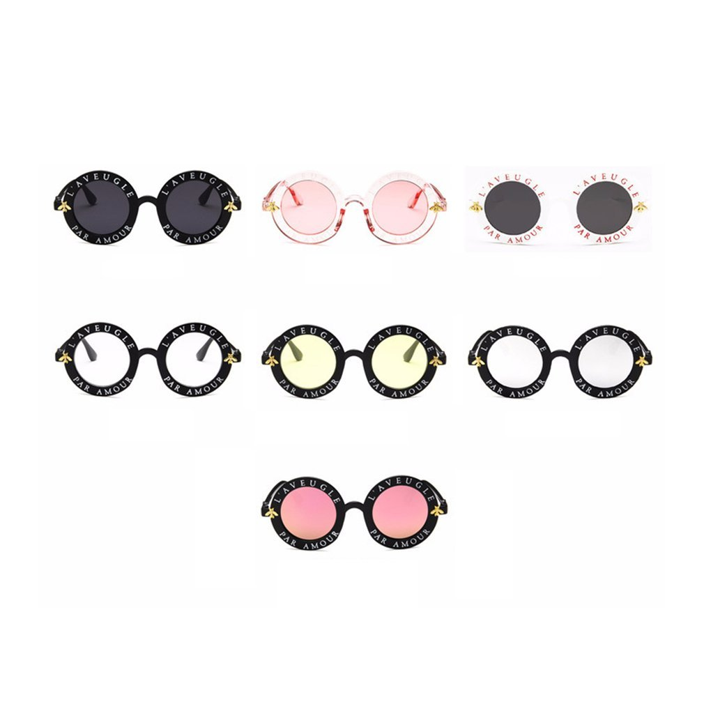 Vintage Round Frame Sunglasses Women Men Unisex English Letters Printed PC Frame Circle Sun Glasses Fashion Female Glasses