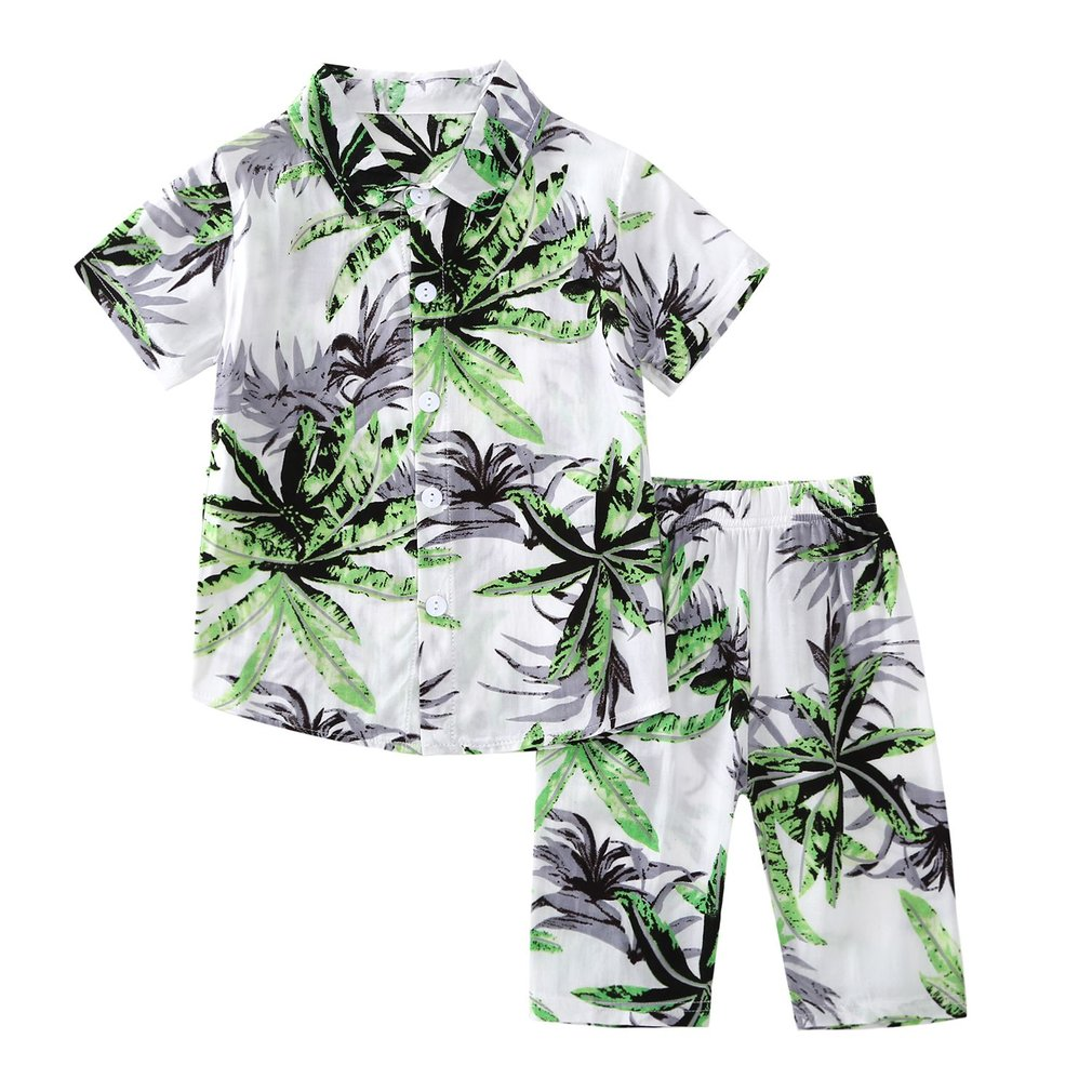 Children Boys Leaves Floral Printed Short Sleeve T-Shirt Tops+Long Pants