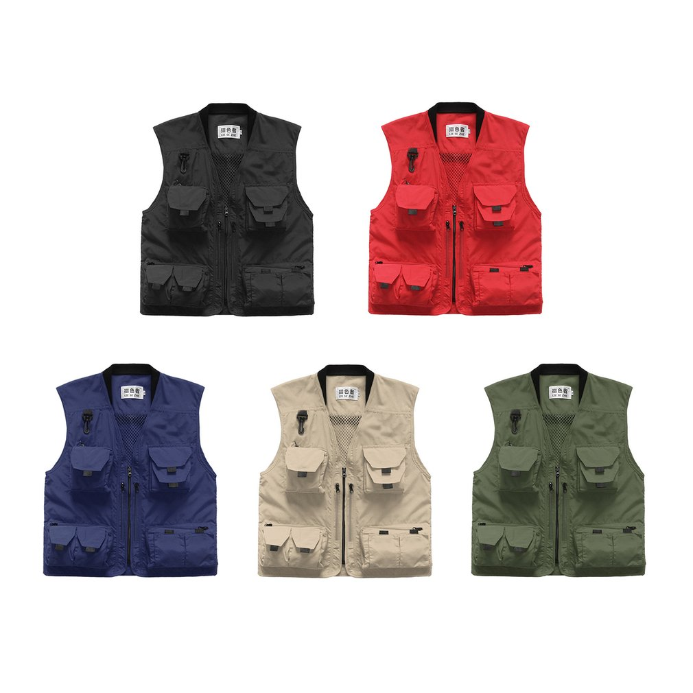 Spring Summer Men Outdoor Fishing Vest Multi-pocket Photography Mesh Vest