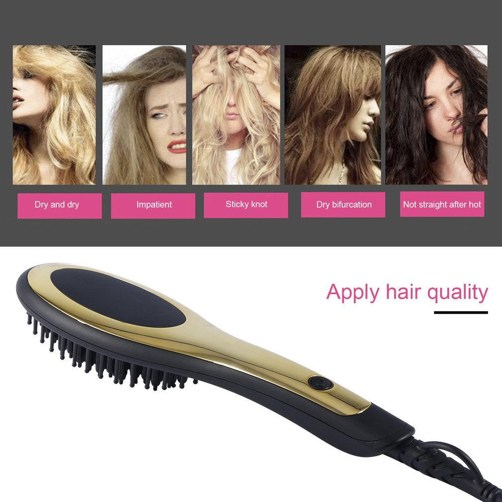 Infrared Heat Straight Spray Hair Brush Comb with Heat Adjustable Home Travel