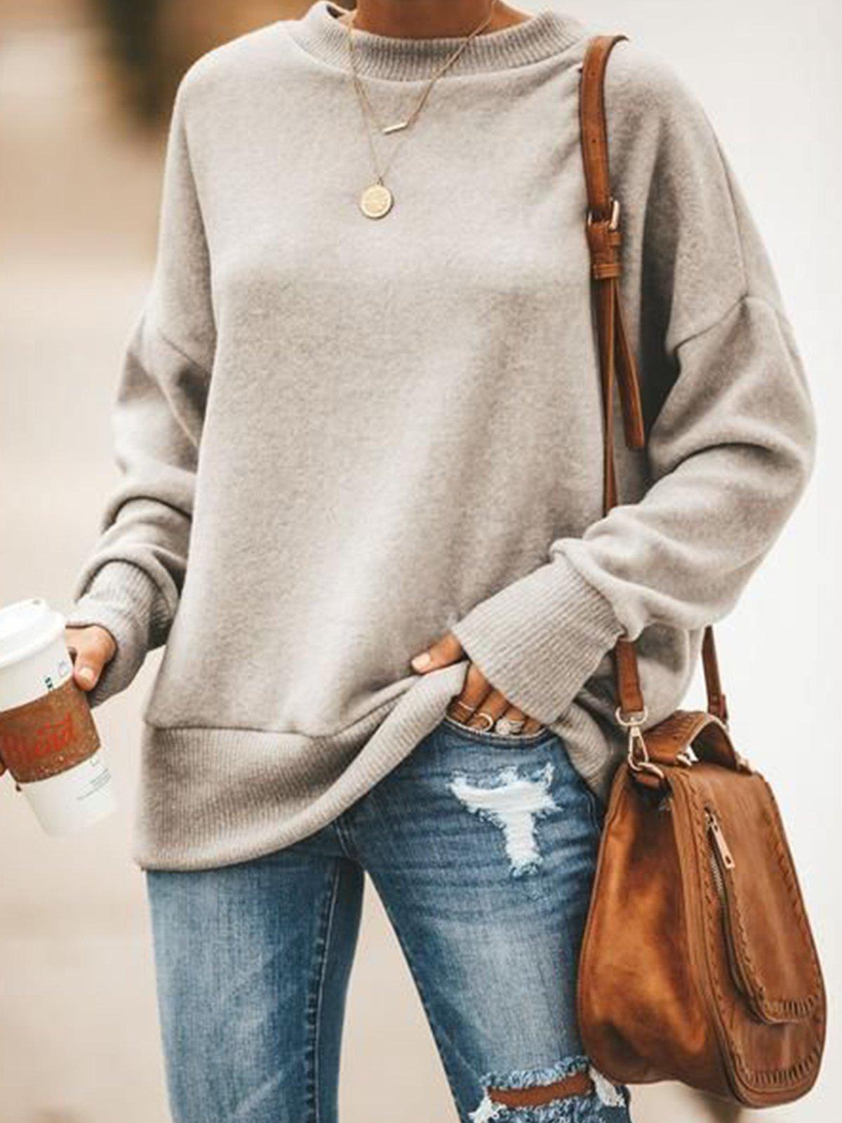 Light Gray Cotton-Blend Long Sleeve Casual Sweater