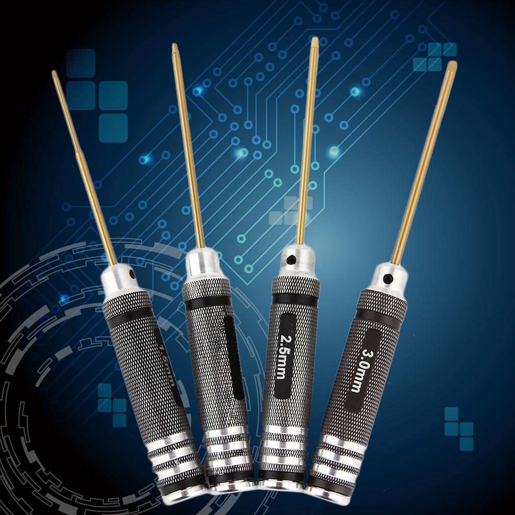 White steel/Titanium Plating Black 4Pcs Hex Screwdriver Screw Driver Kit Set