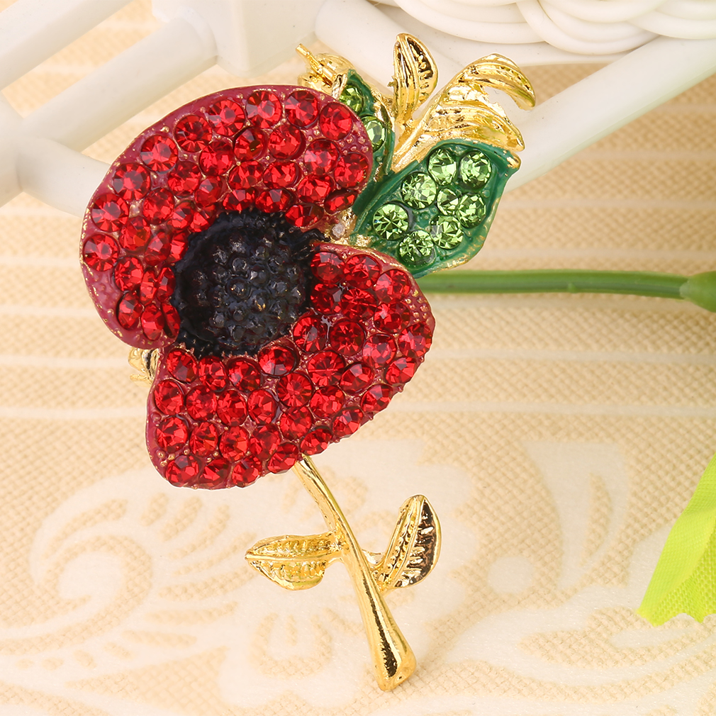 Red Poppy Flower Brooch Diamante Crystal Broach Gold Plated Jewelry Gift