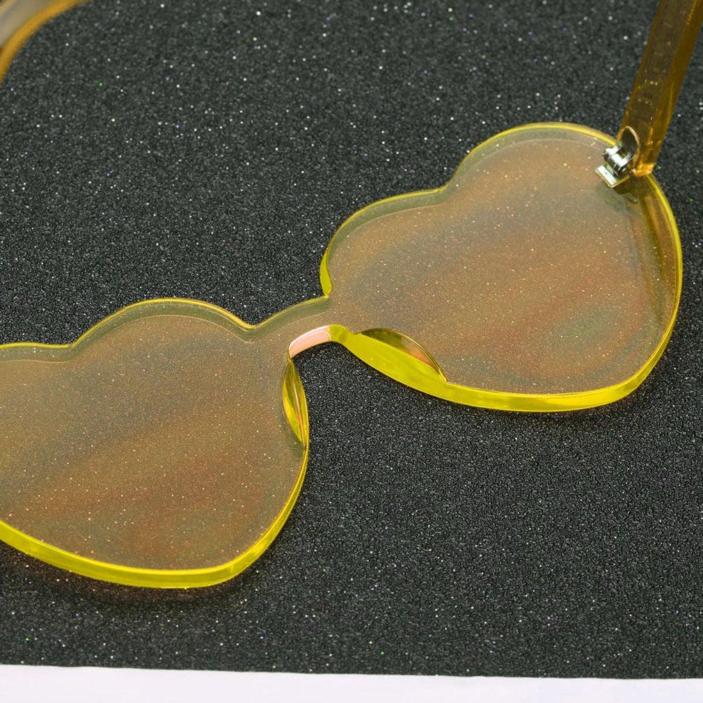 Love Heart Shape Women Sunglasses Eyewear Rimless Frame Resin Lens Sun Glasses