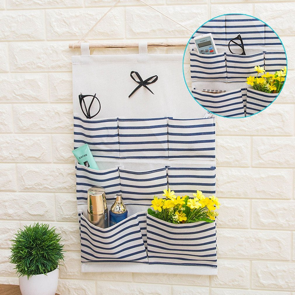 Practical 8 Pockets Sundry Cotton Wall Hanging Organizer Bag Storage Bag