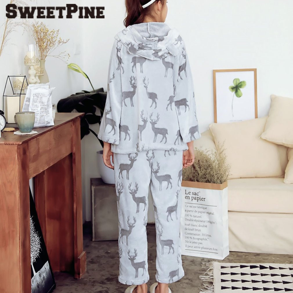 Nightwear Pajamas Sleepwear Suit Soft Nightgown Hooded Cute Casual 2 Pieces