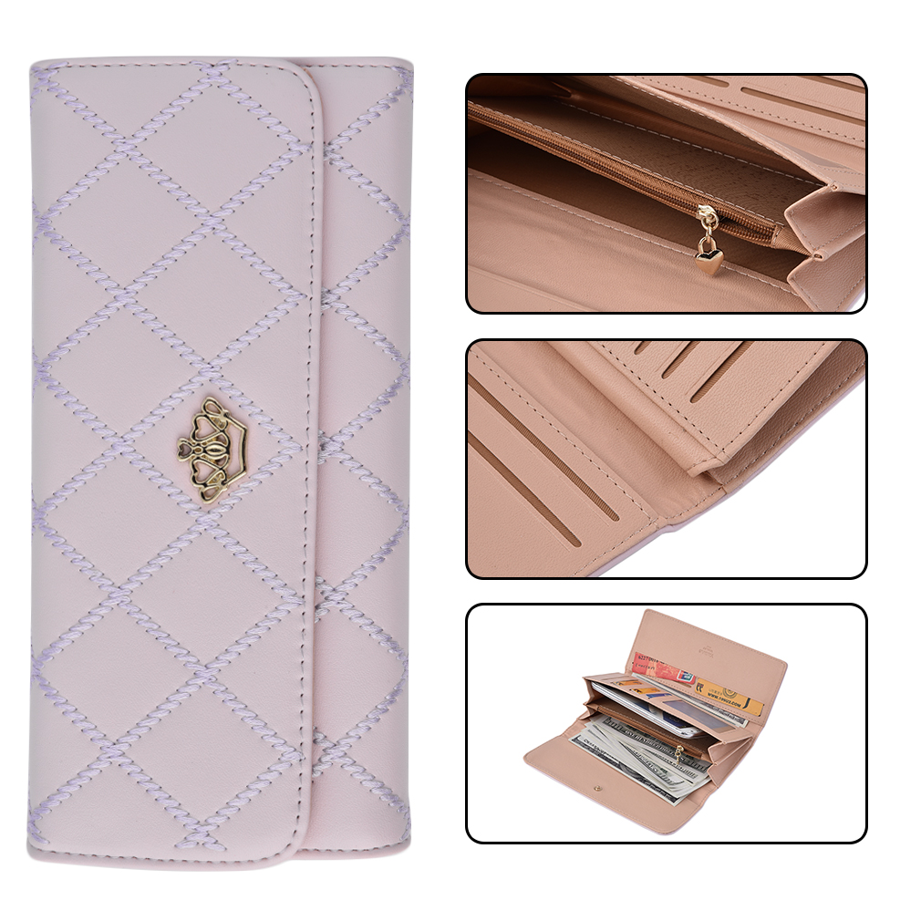 New Women Lady Leather Clutch Wallet Long PU Card Holder Purse Handbag