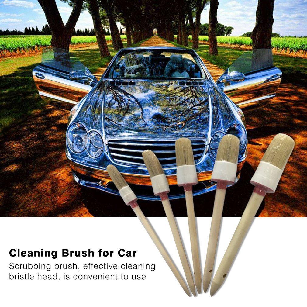 Round Head Wood Handle Beige Faux Bristle Wheel Cleaning Brush 5PCS Car Wash