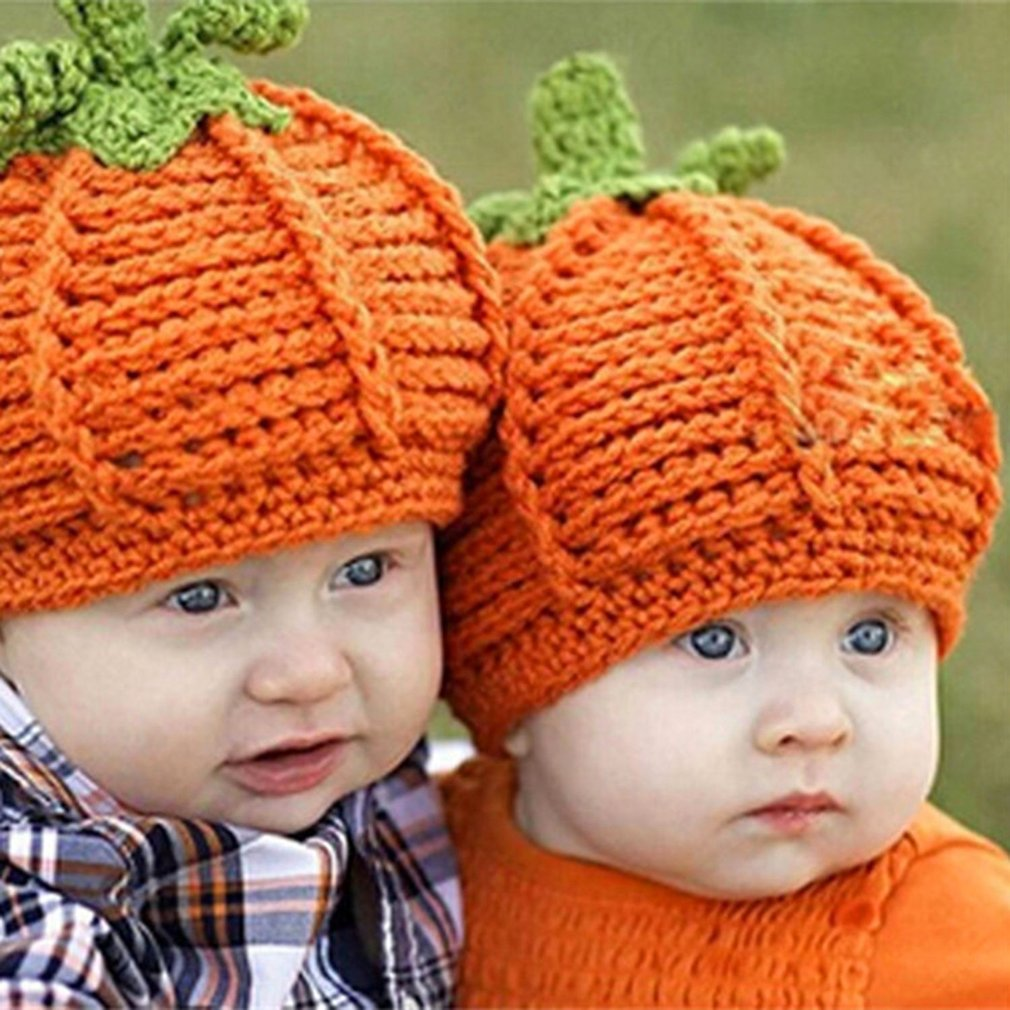 Cute Newborn Baby Halloween Party Pumpkin Hat Comfortable Crochet Knitted