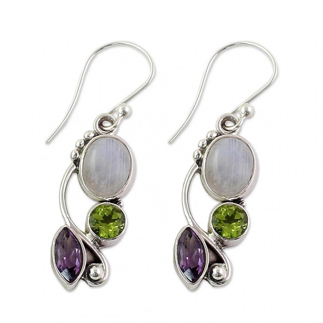 Vintage Marquise Round Faux Moonstone Emerald Amethyst Dangle Hook Earrings