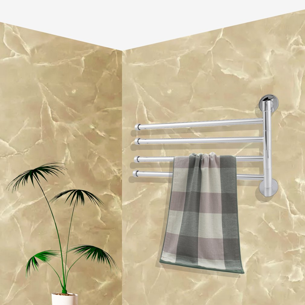 Stainless Steel Towel Rack Holder Rotating Towel Bar Bathroom Haing Organizer