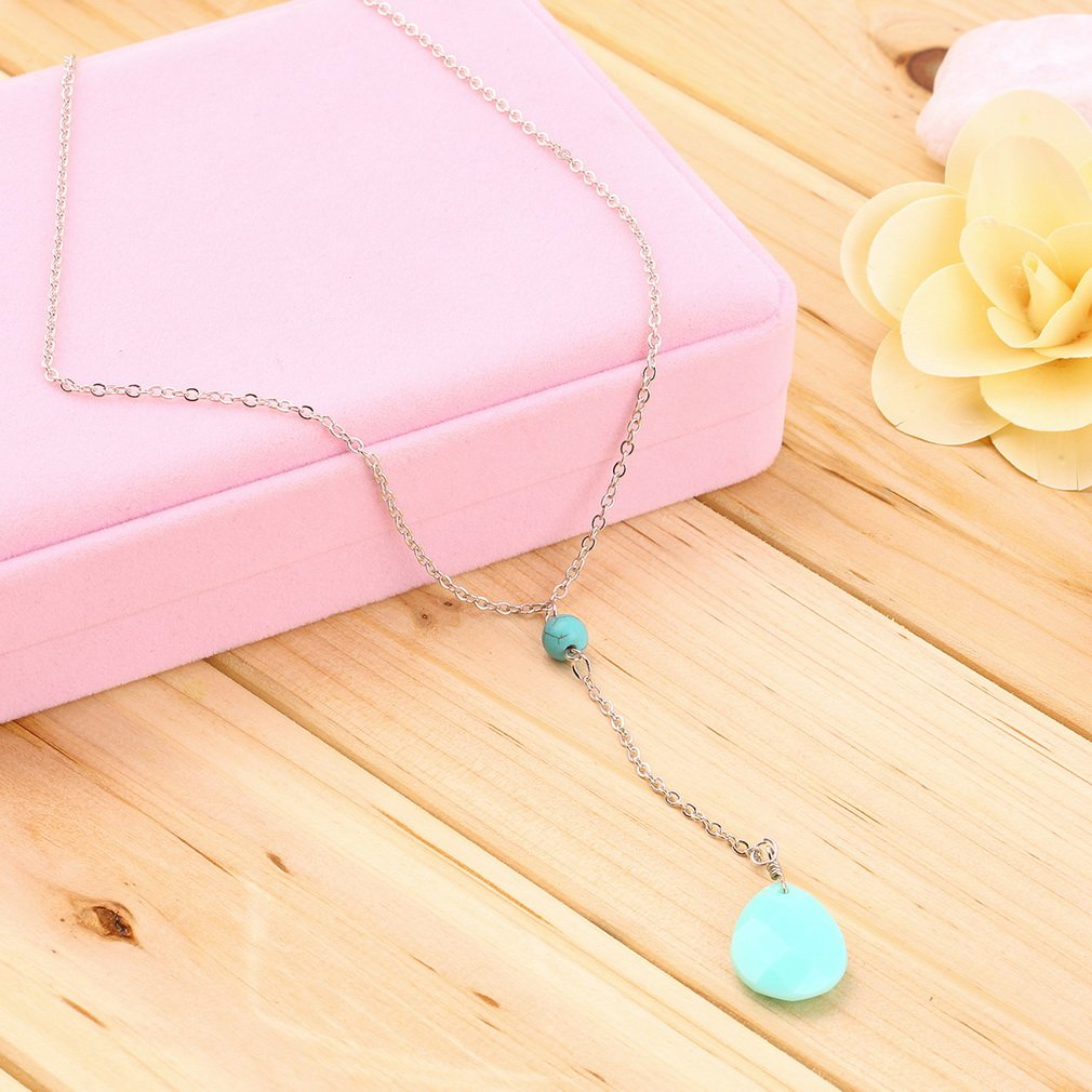 New Fashion Turquoise Teardrop Beads Women Chain Necklace Charm Jewelry