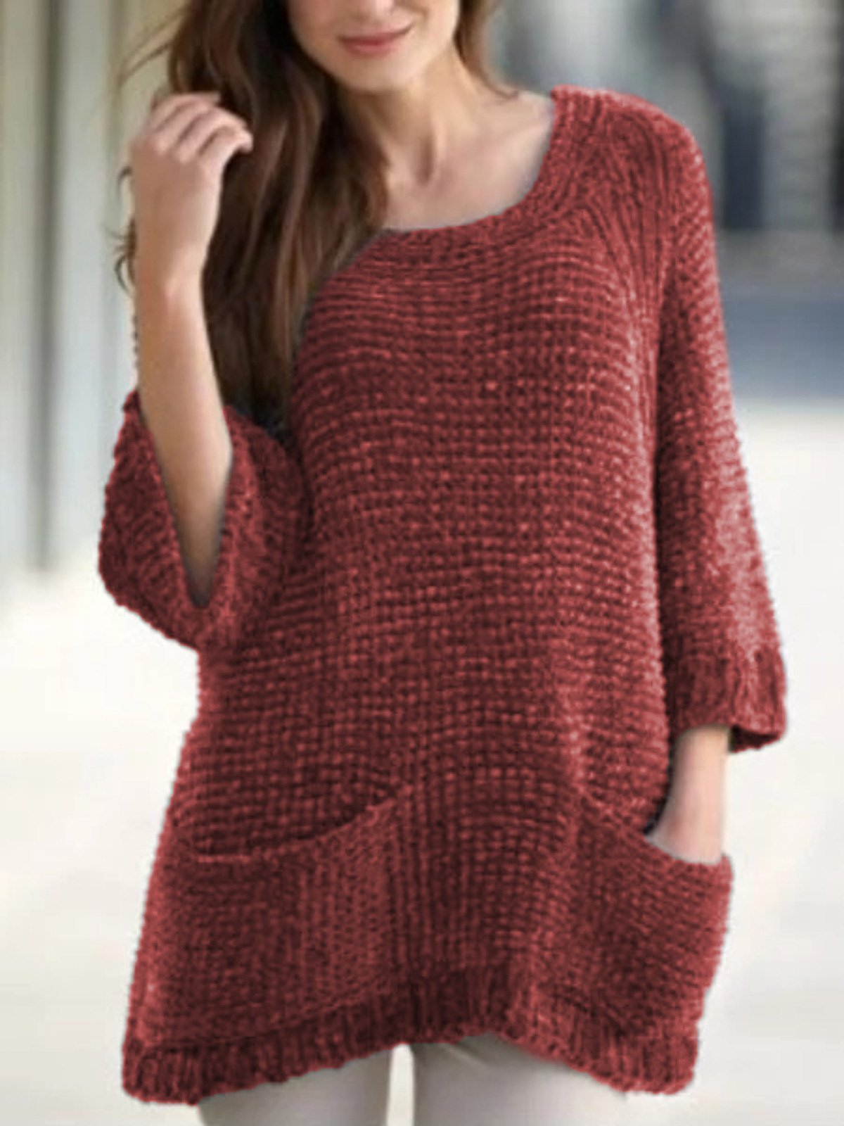 Casual Over Sized 3/4 Sleeve Sweater