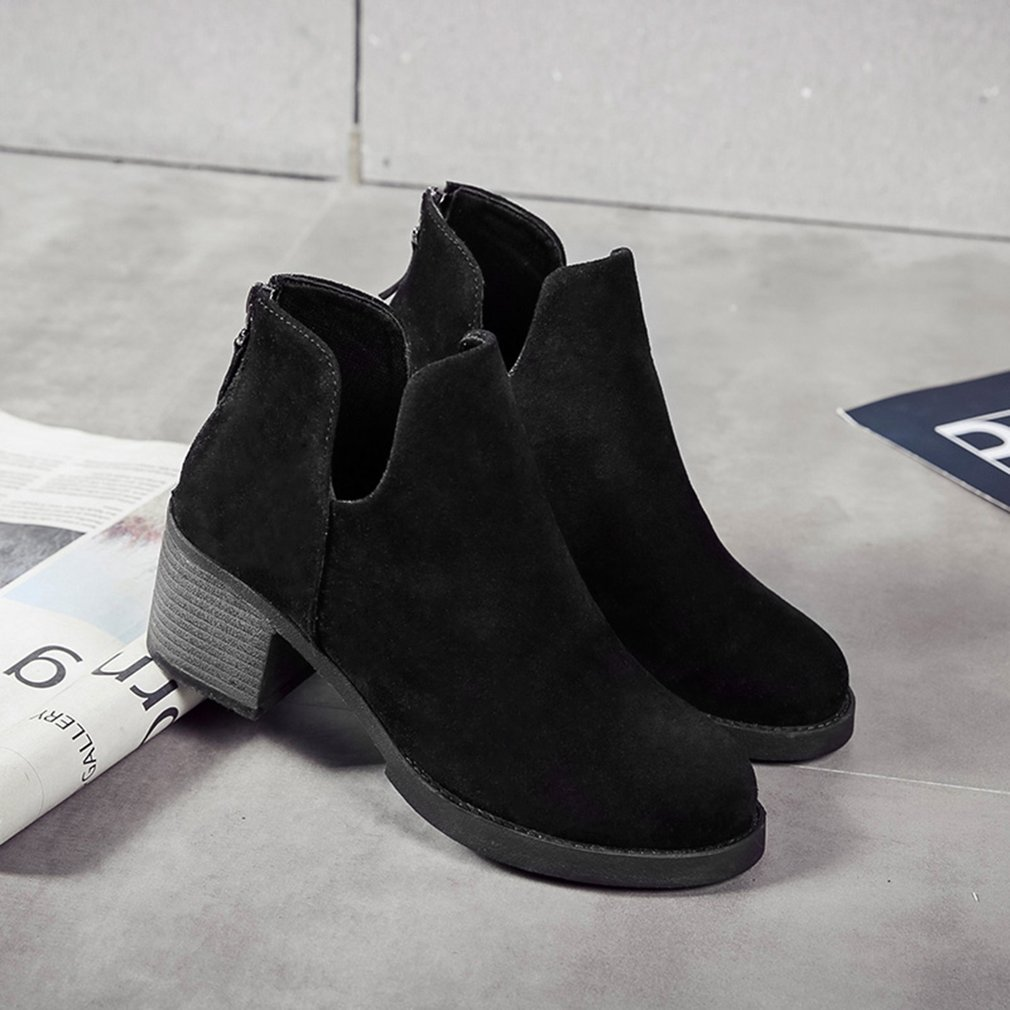 2017 Winter Women Boots Casual Suede Leather High Heel Pointed Toe Boots