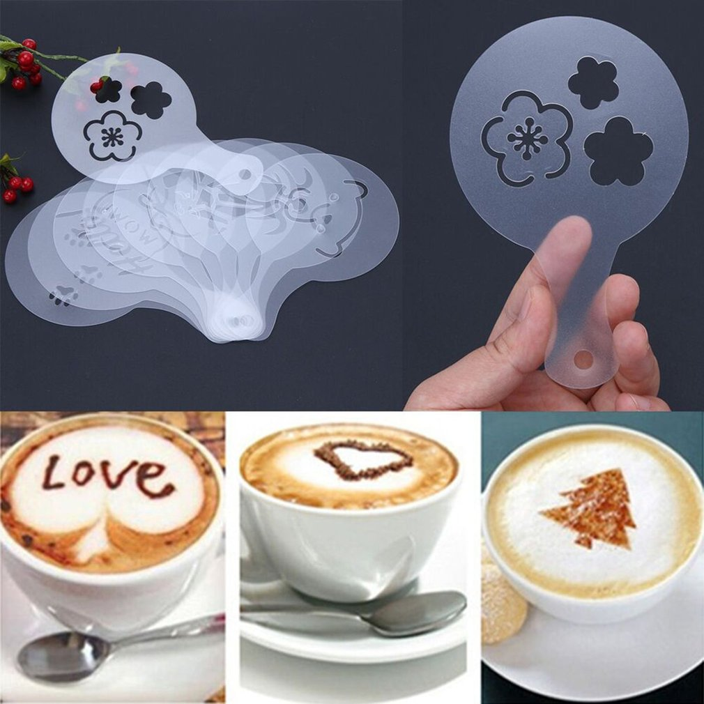 10pcs/set Coffee Drawing Printing Mold Coffee Cake Stencils Decoration Tool