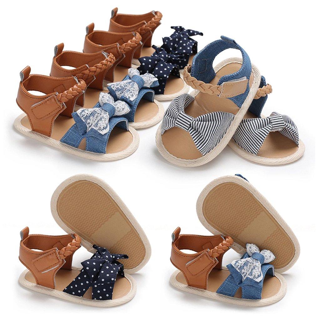 Summer Bowknot Prewalker Baby Unisex Ankle-wrap Hook & Loop Infant Sandals