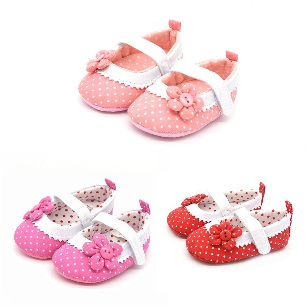Cute Soft Princess Dot & Flowers Pattern Buttons Babies Toddler Shoes
