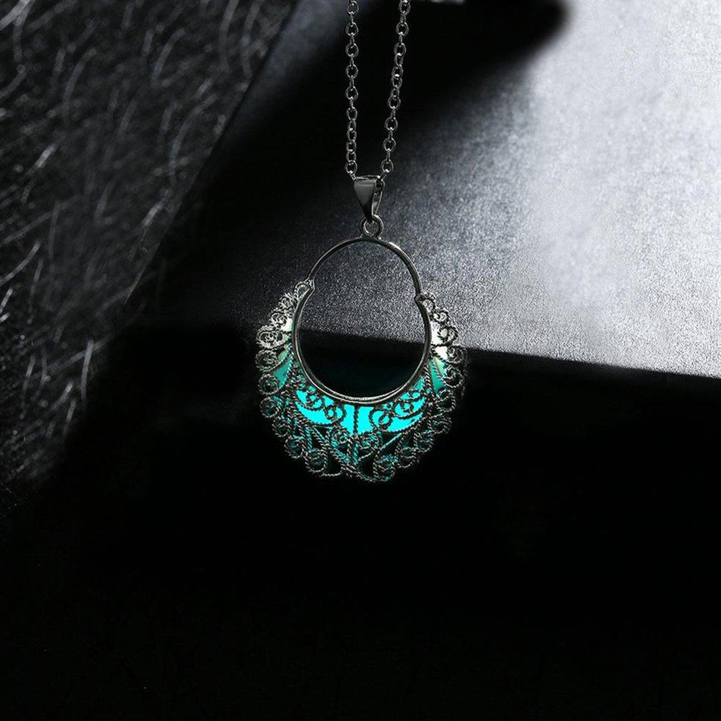 Trendy Geometric Hollow Out Pendant Men Women Luminous Necklace Unique Necklace Fine Jewelry Unisex Gift