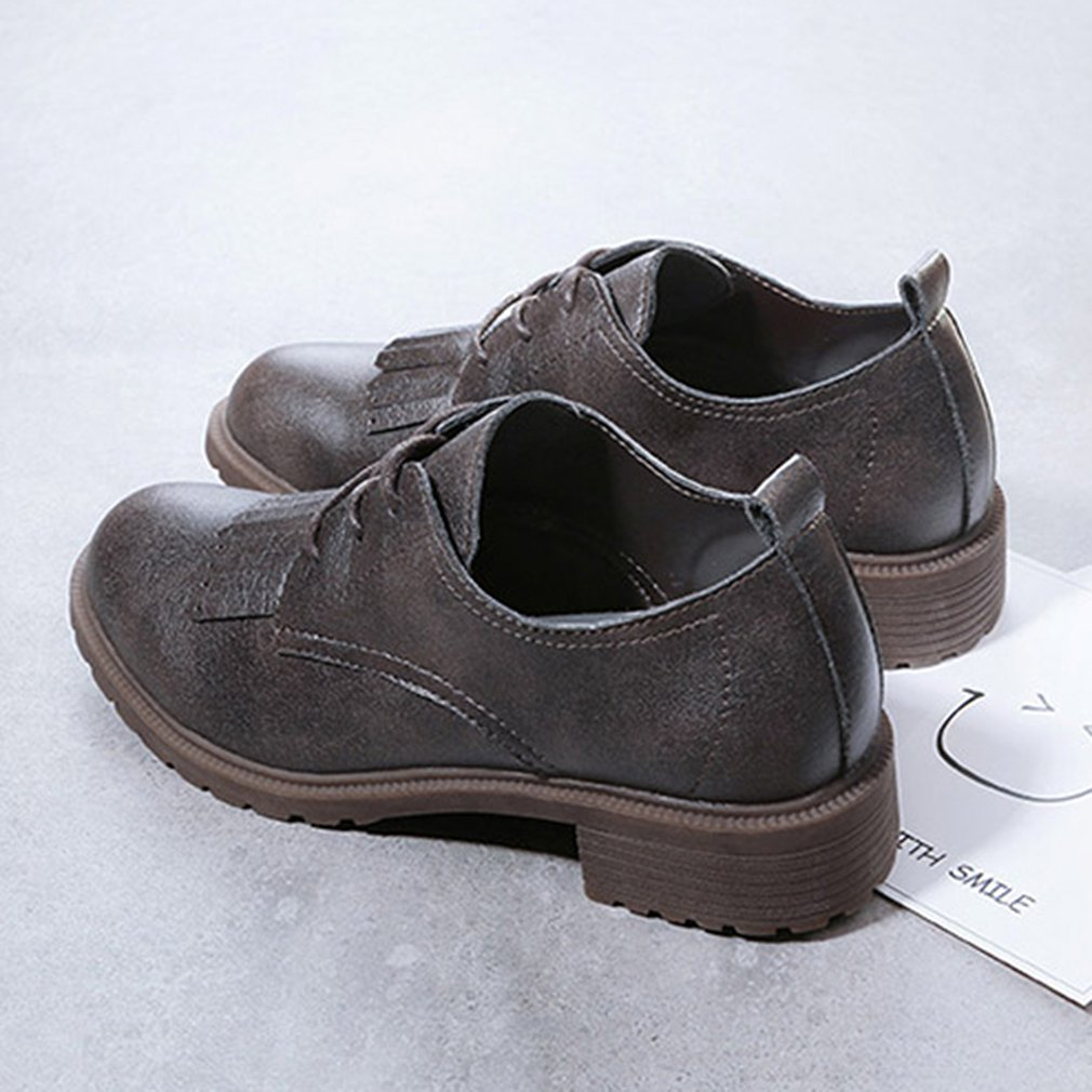 RenBen 12301 British Style Vintage Leather Shoes Women Autumn Casual Shoes