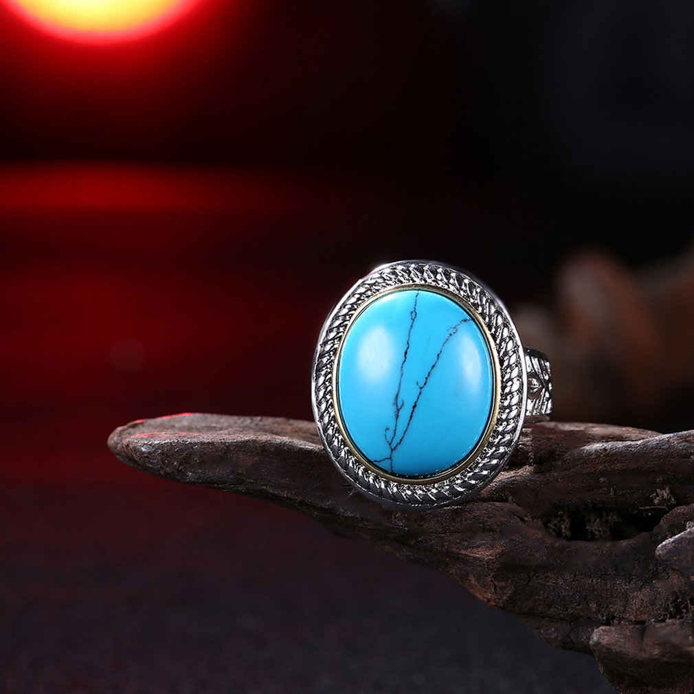 Trendy Vintage Turquoises Rings For Women White Gold Color Big Oval Kallaite