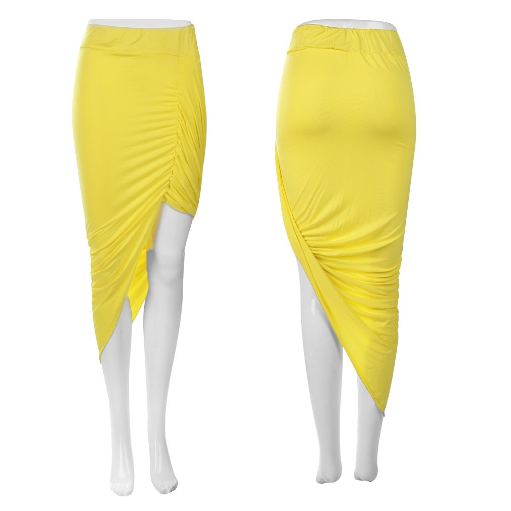 Draped Asymmetrical Wrapped High Low Solid Color Fitted Cutout Slim Skirt