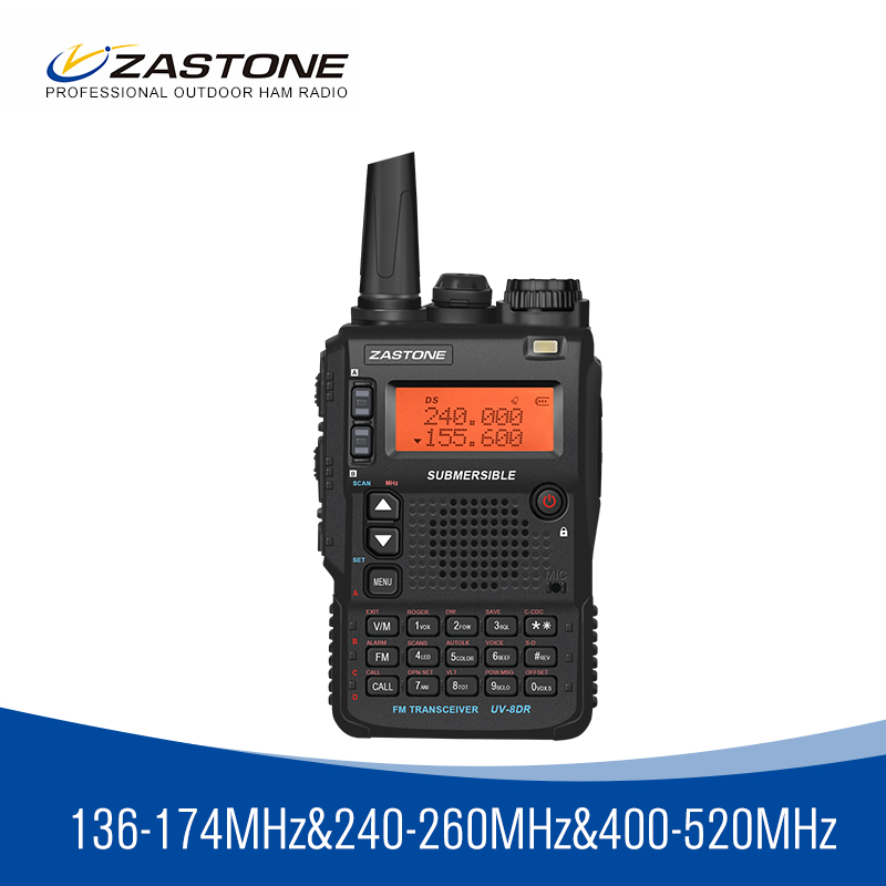 Zastone 8DR tri band 136-174/240-260/400-520 mhz portable walkie talkie 5W power ham radio 2350mah battery 2 antennas
