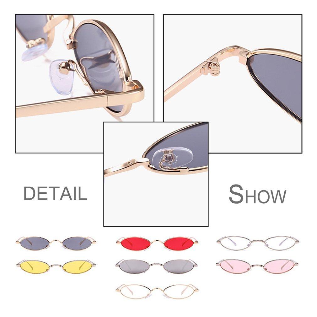 Trendy Design Women Men Small Oval Sunglasses Fashionable Unisex Metal Frame UV Protective Eyewear Glasses