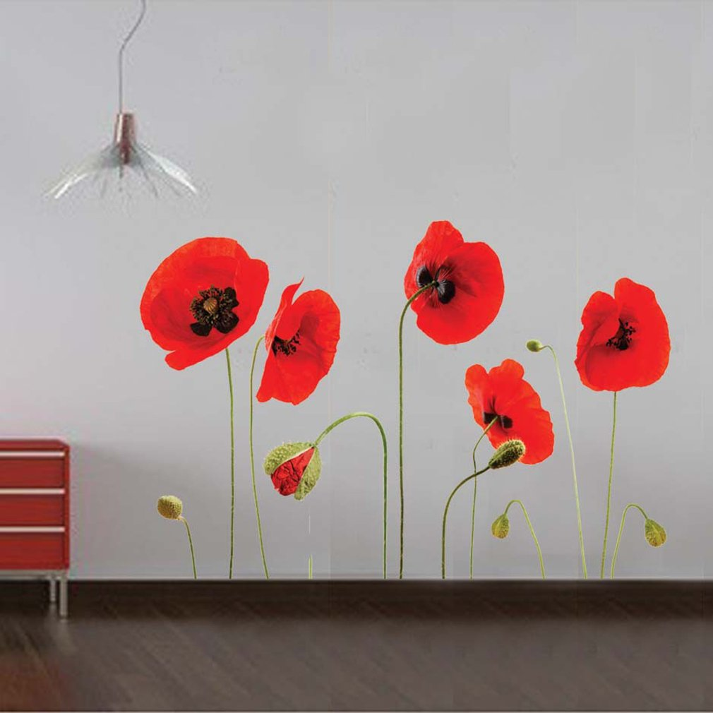 Flowers Pattern Wall Stickers Bedroom Living Room TV Background Sticker