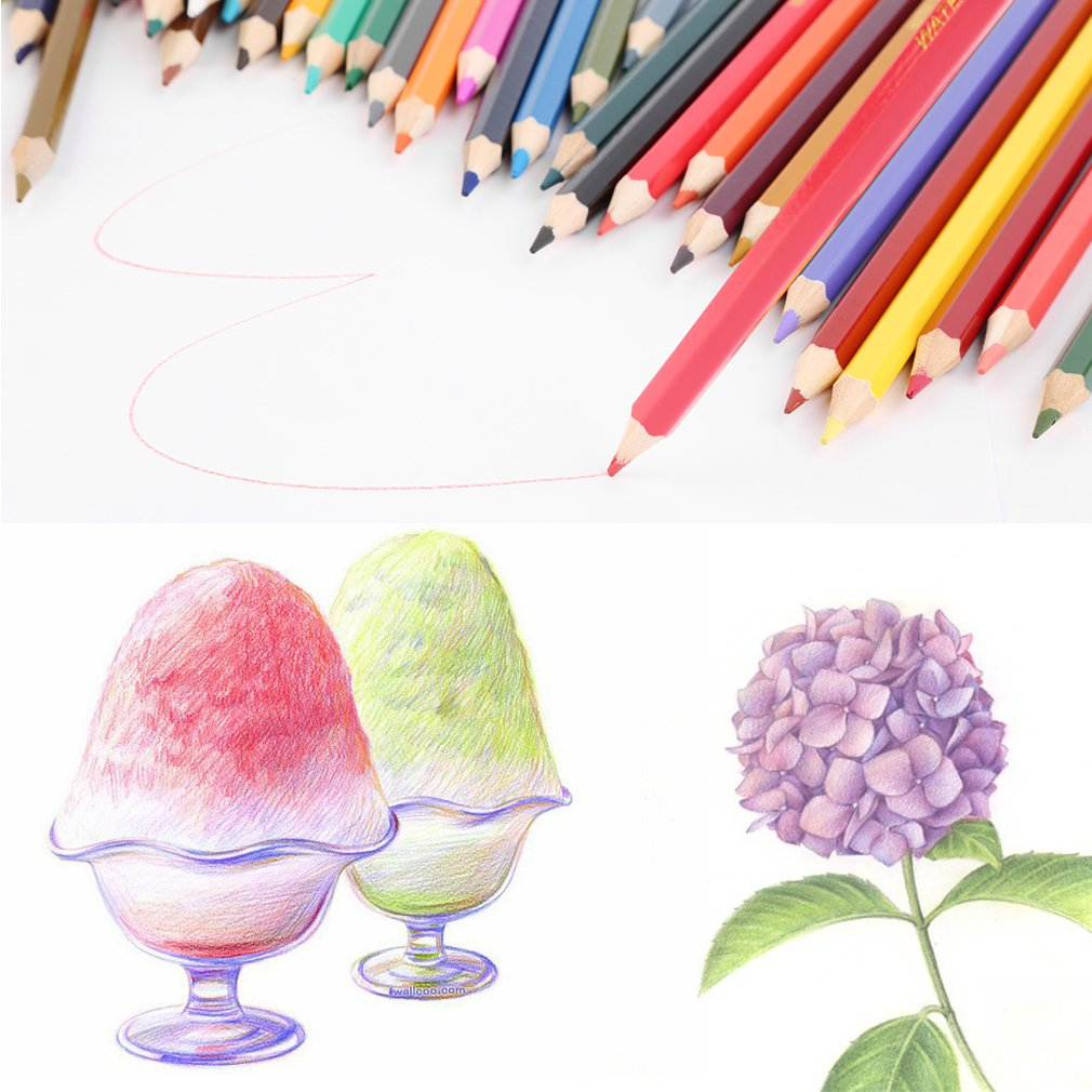 72-Colors Water Soluble Colored Pencil Set Art Paint Drawing Crafts Gift