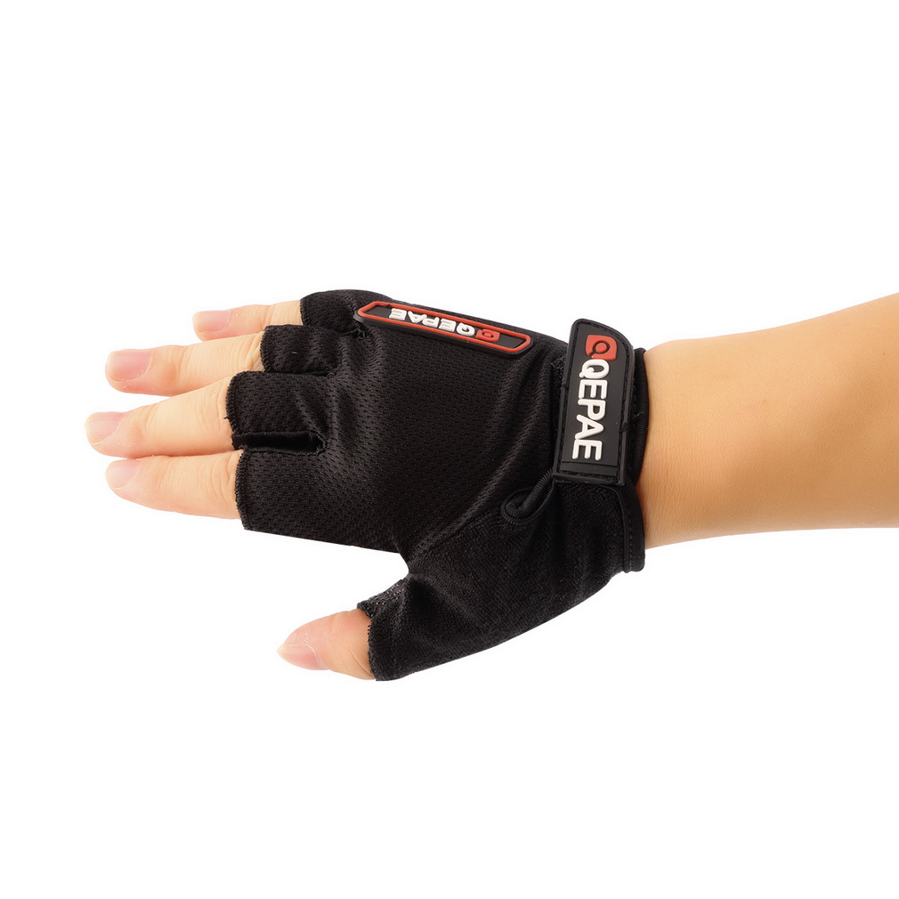 Outdoor Durable Cycling Equipment Black Half Finger Gloves QG035