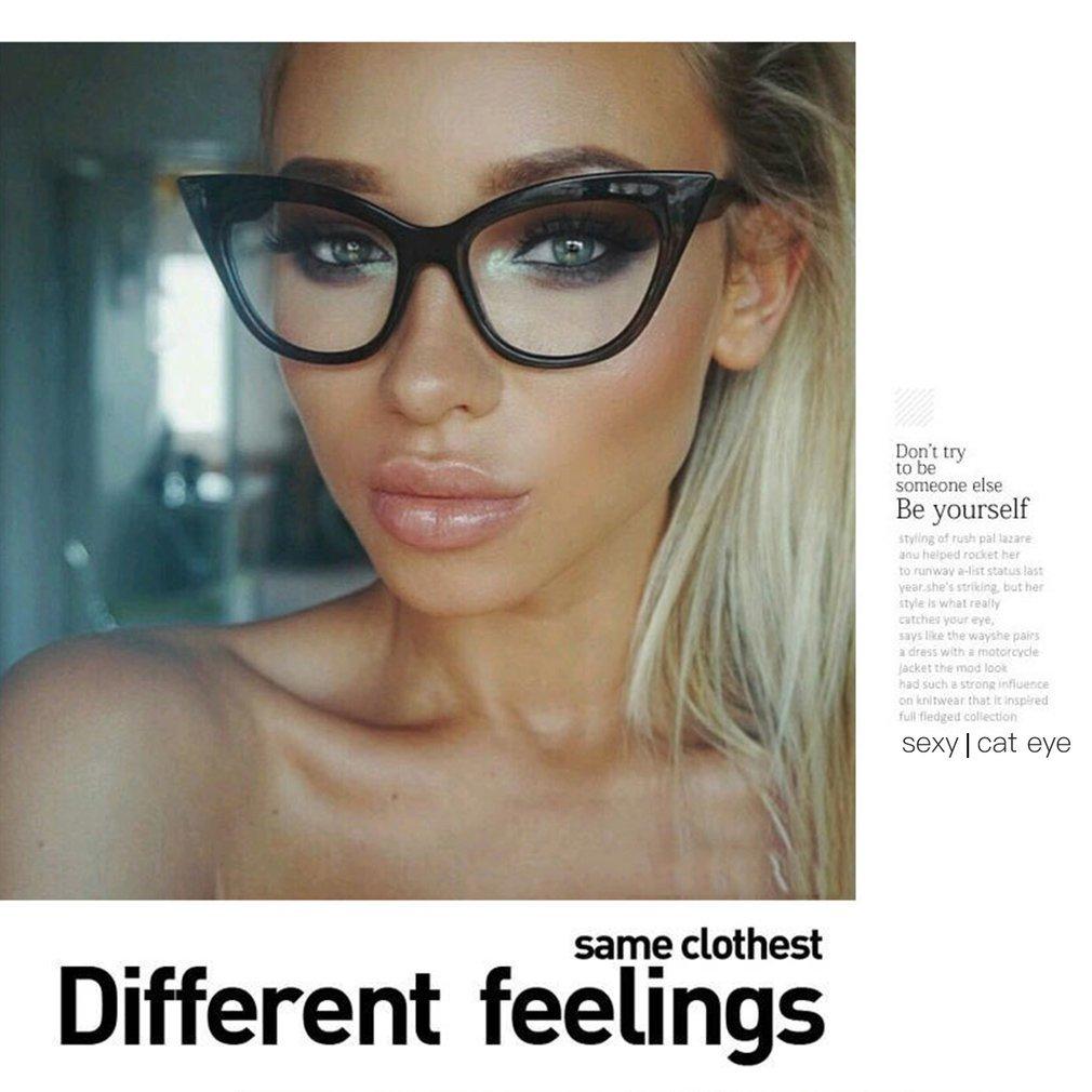 Vintage Cat Eye Design Women PC Eyeglass Glasses Frame Classic Plain Mirror Eyewear Glasses Frame Myopia Frame