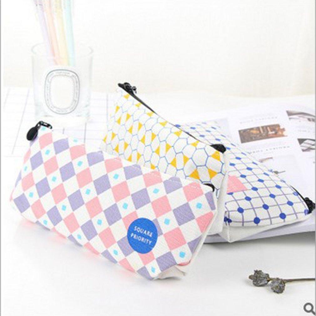 Geometric Patterns Large Capacity Canvas Pencil Bag Stationery Storage Bag