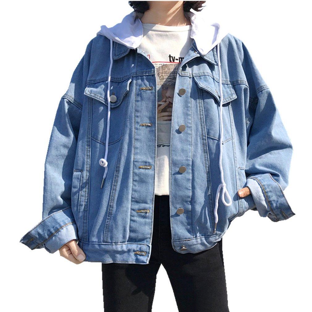 Loose Coat Long Sleeved Single Breasted Buckle Denim Jacket Female Woman Coat