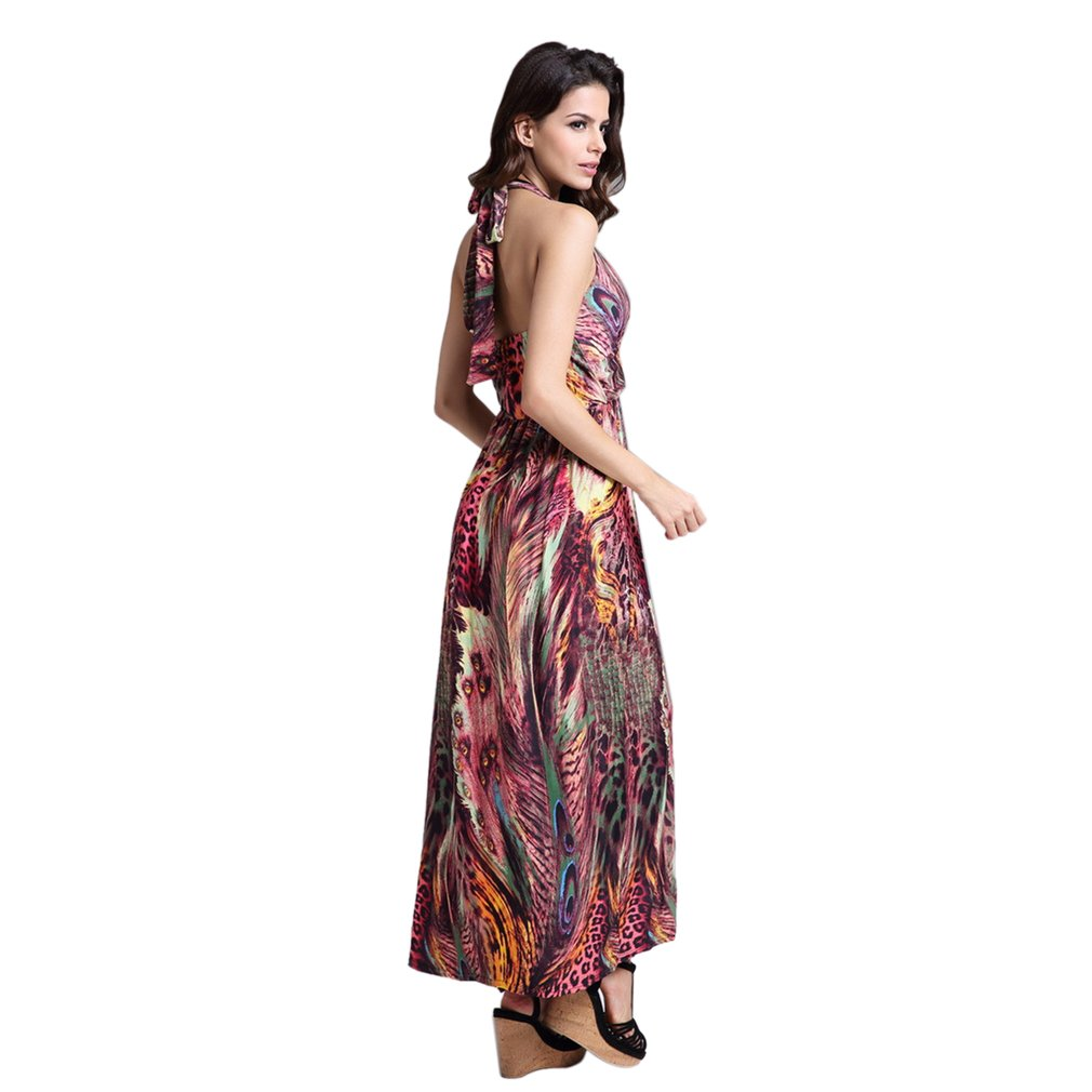 Fashionable Design Bohemia Style Women Long Dress Sexy Ladies Peacock Flower Printed Ladies Summer Beach Sleeveless Dress