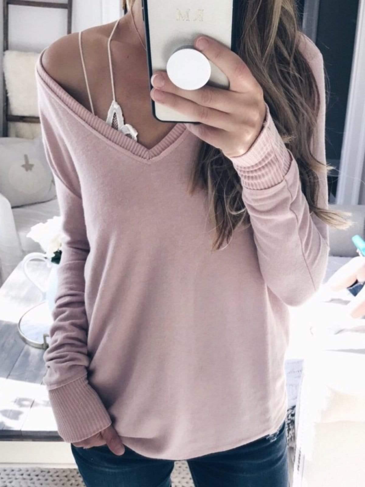 Women Casual Plus Size Sweater Long Sleeve T Shirt