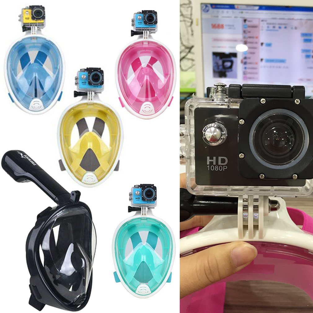 Hot Breath Full Face Mask Surface Diving Snorkel Scuba for GoPro (S/M)