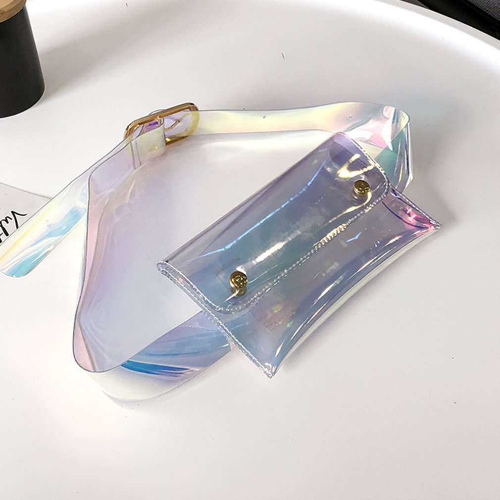 Fashionable Translucent Reflective Design Women Waist Bag Casual Party Night Club Wear Mobile Phone Storage Waist Packs